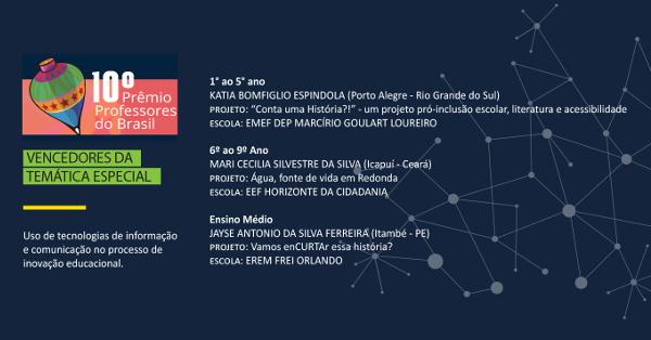 O Prêmio Professores do Brasil divulga os vencedores da temática especial Uso de tecnologias de informação e comunicação no processo de inovação educacional